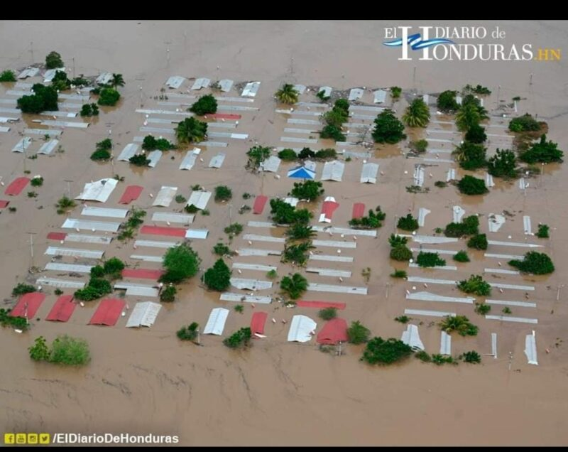 Overhead photo of flooded homes in Honduras